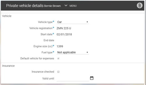 Private vehicles details pop up window