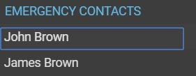 Emergency contacts list on left side menu